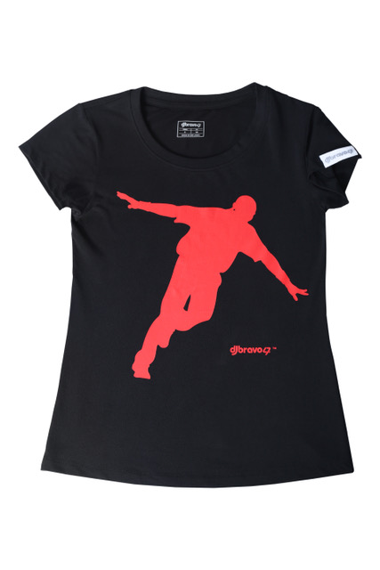 DJ Bravo47 Celebration Tee Female (Black with Red)